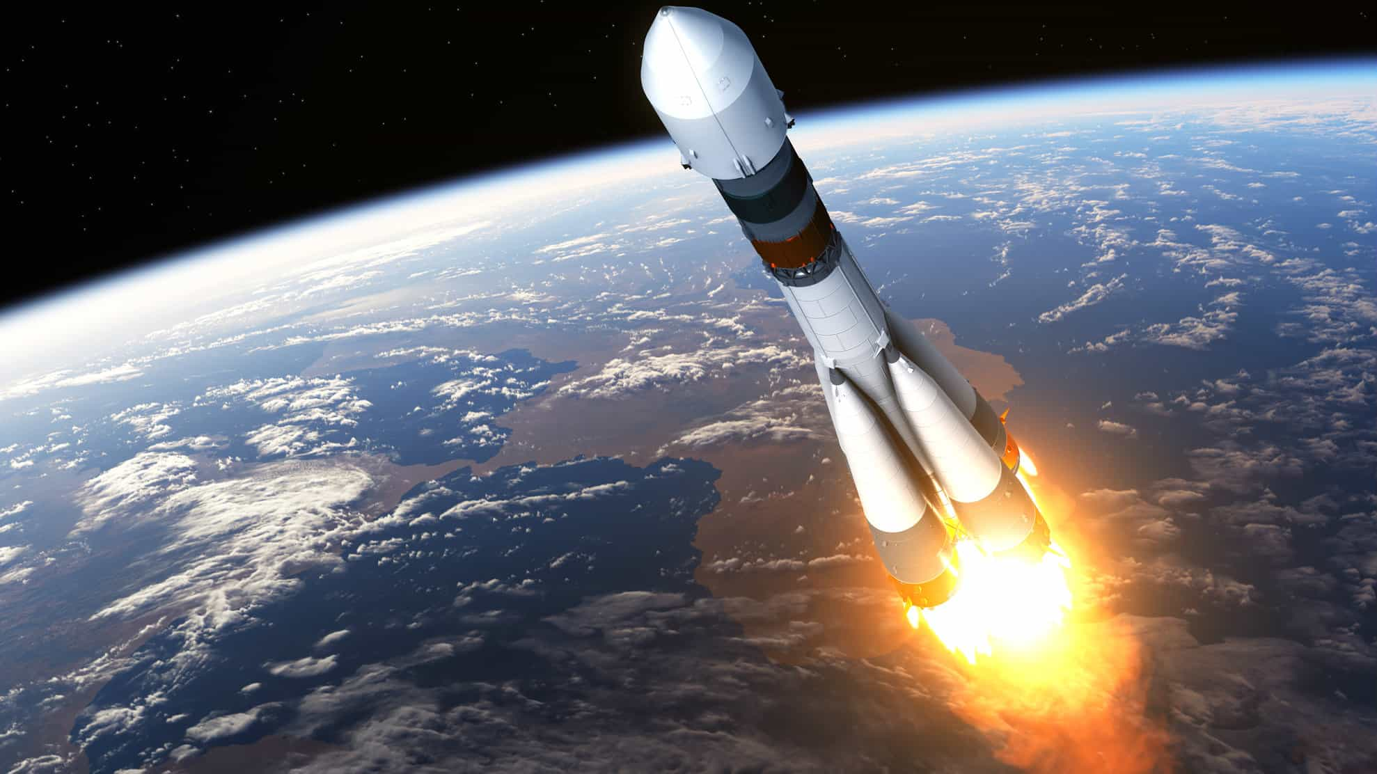 A rocket shoots up into space, indicating a surging share price movement on the ASX