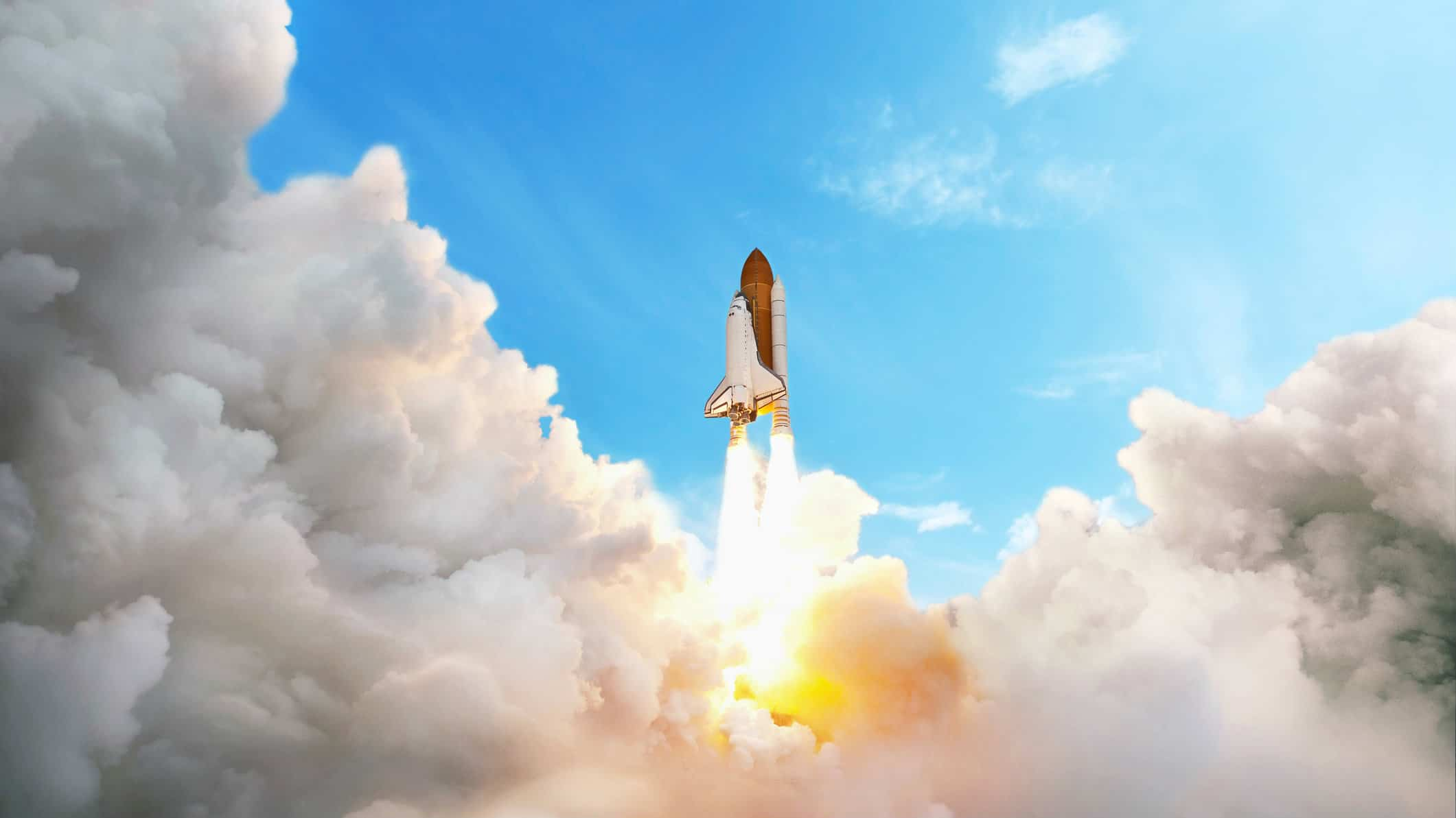 Rocket soaring through the sky