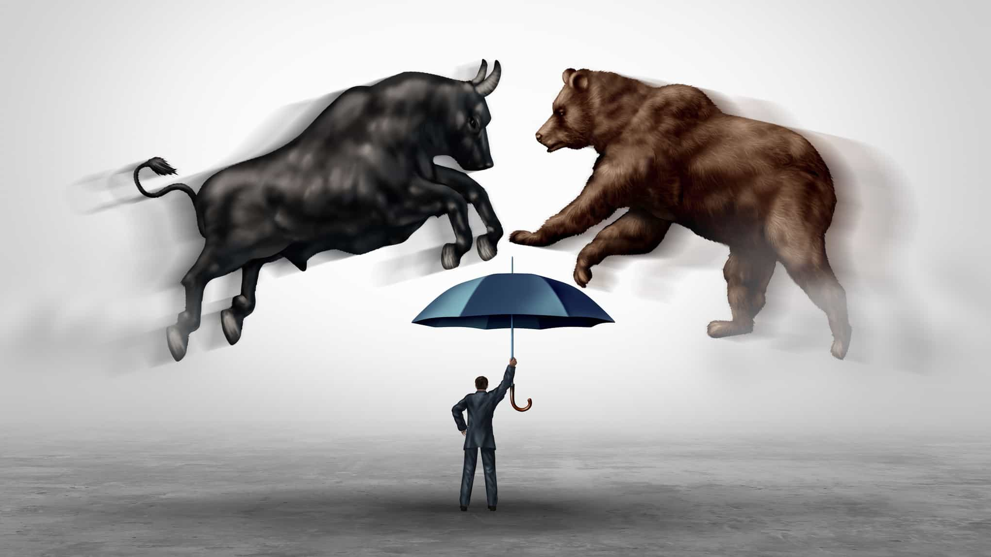 asx share price represented by bear and bull colliding over man holding an umbrella