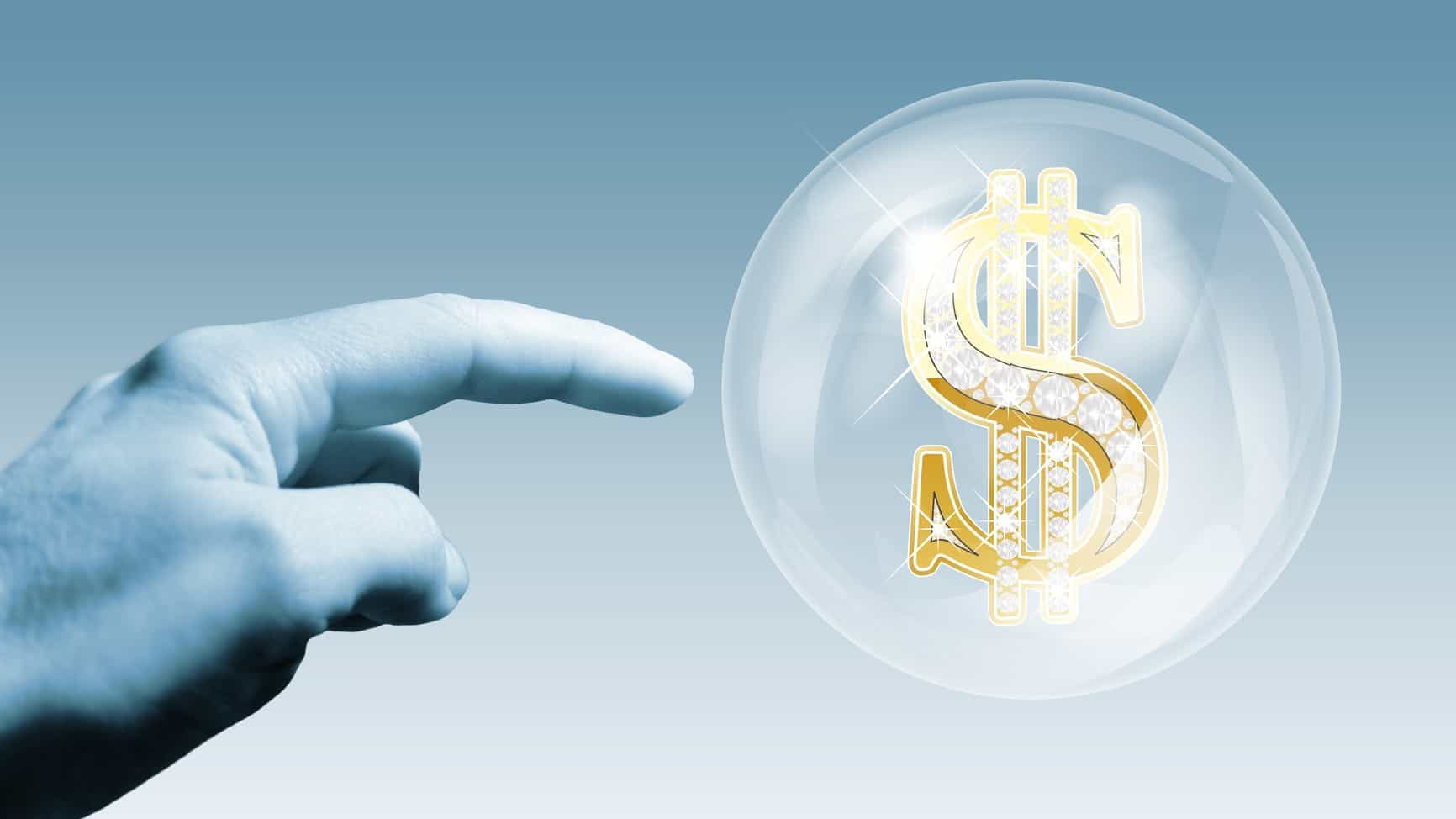 hand about to burst bubble containing dollar sign, asx shares, over valued