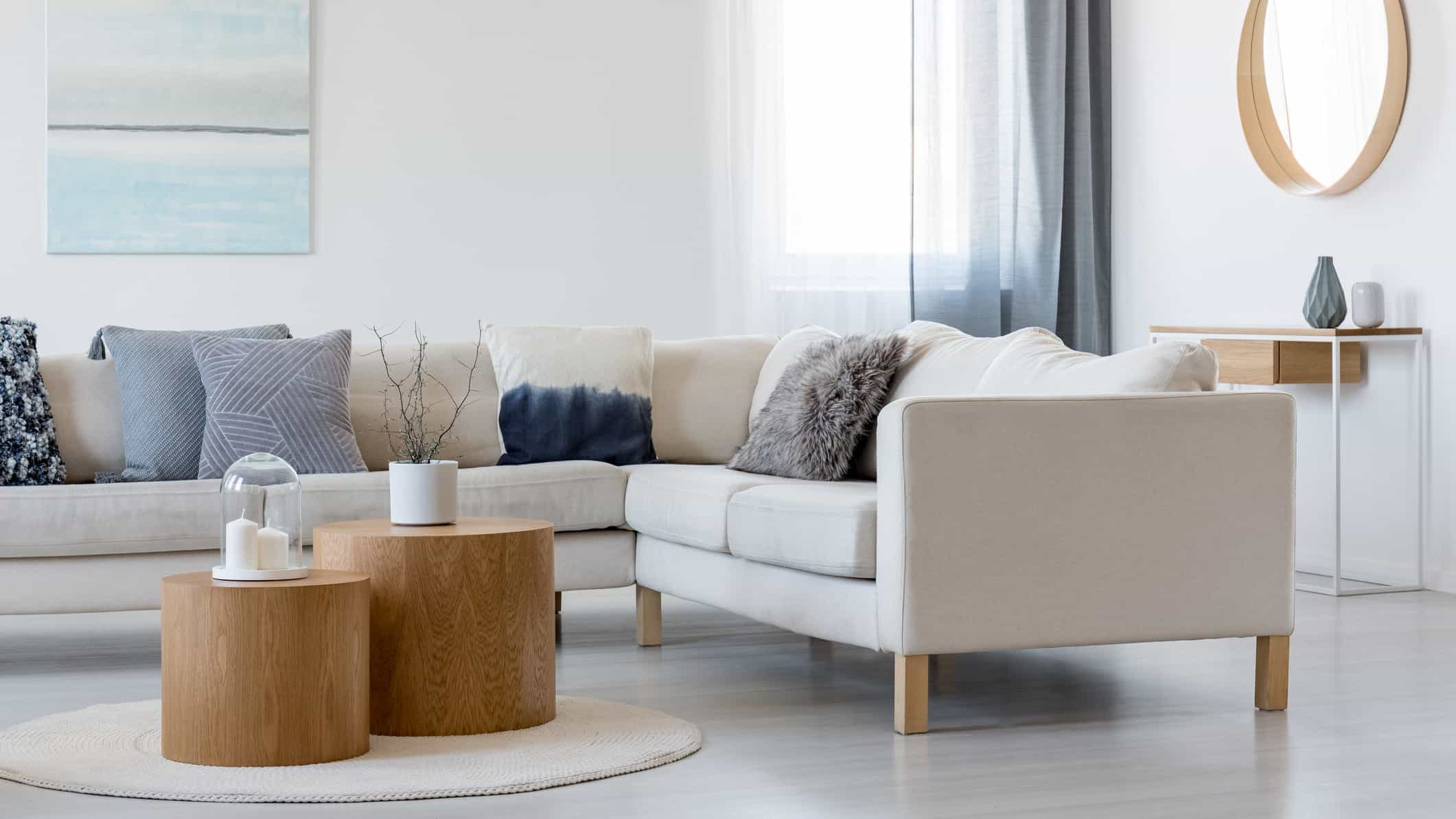 living room with sofa, cushions and coffee table and decor items