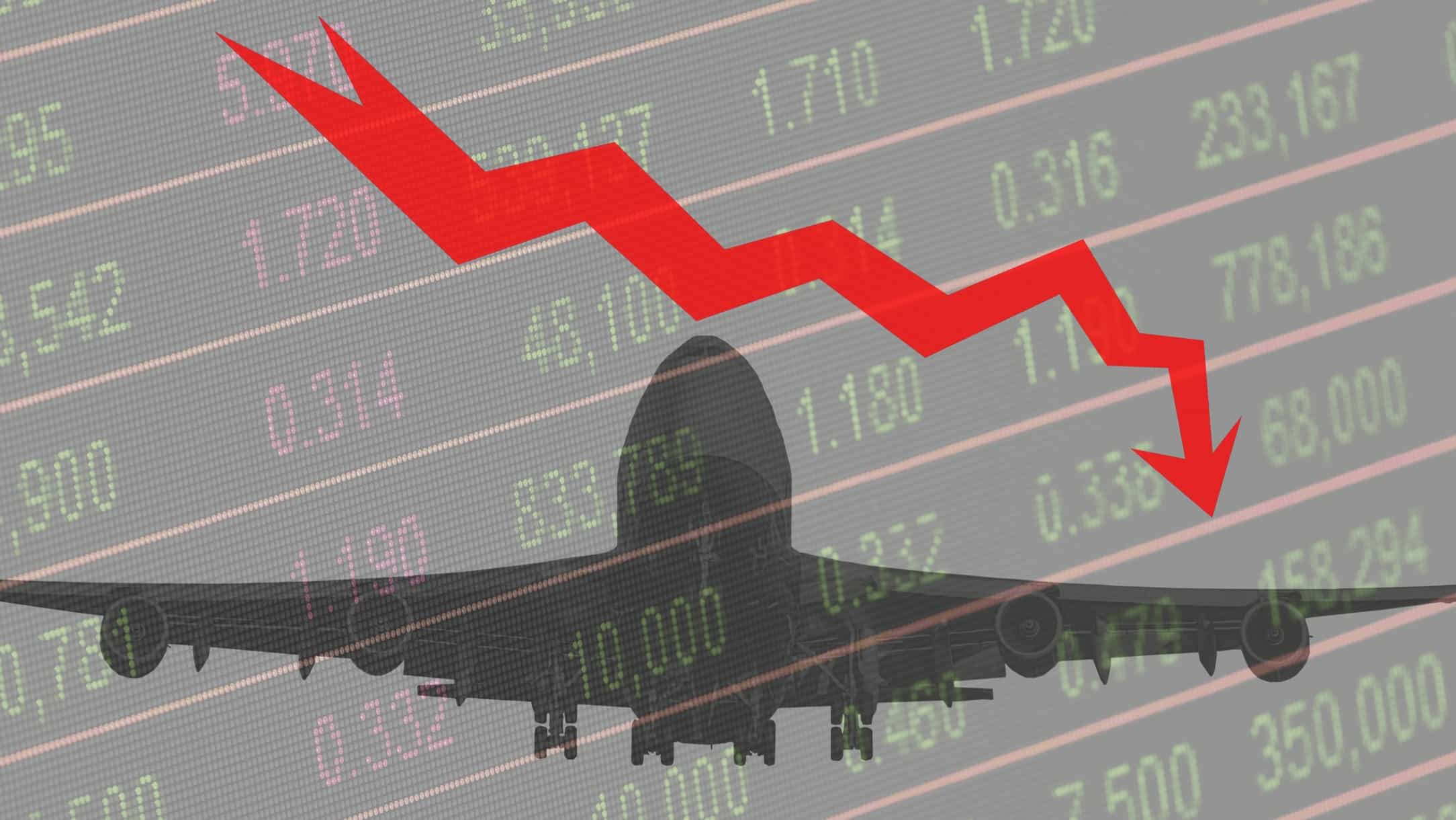 outline of a Qantas plane against backdrop of share price chart
