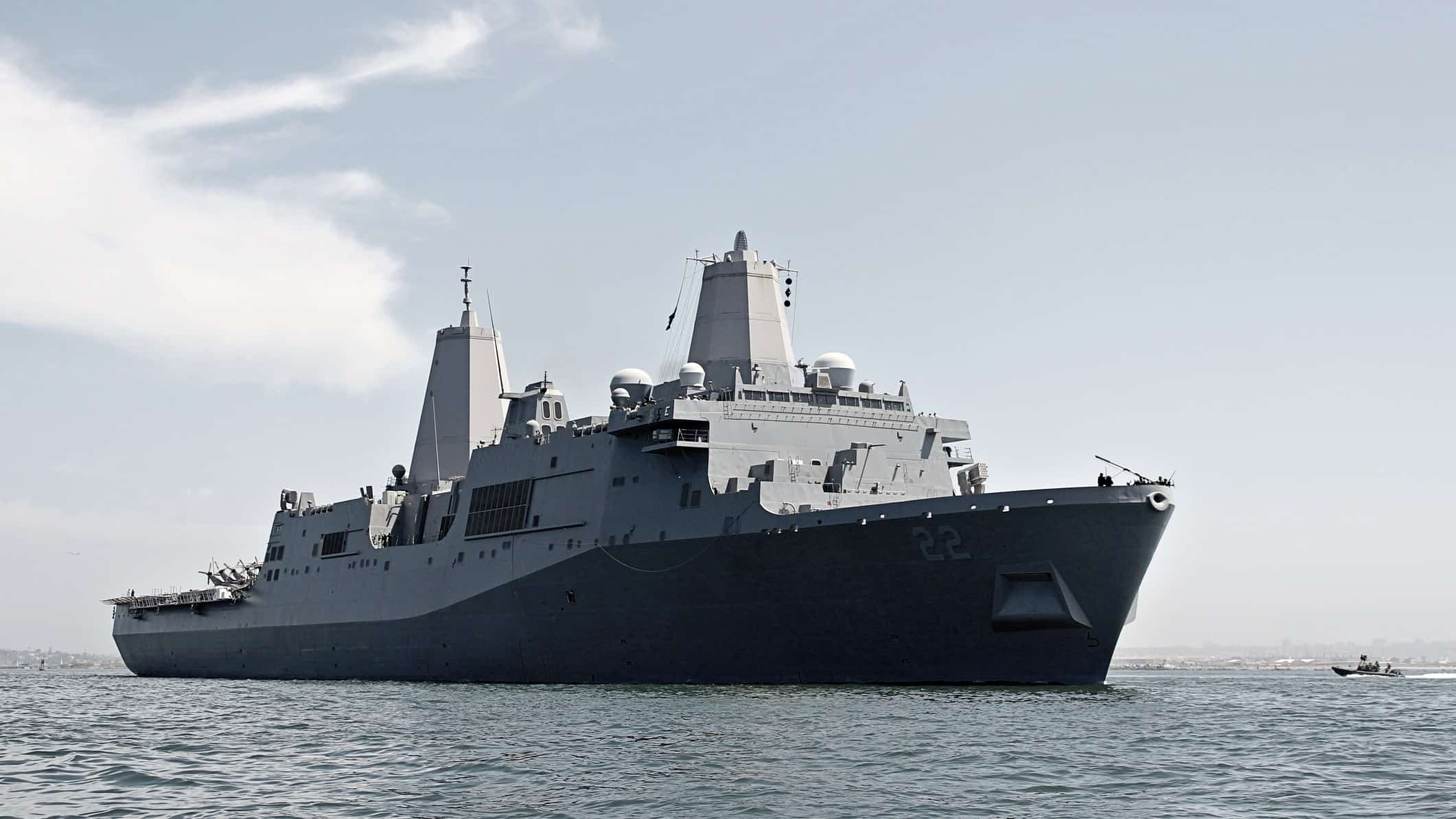 navy ship on the water representing austal share price