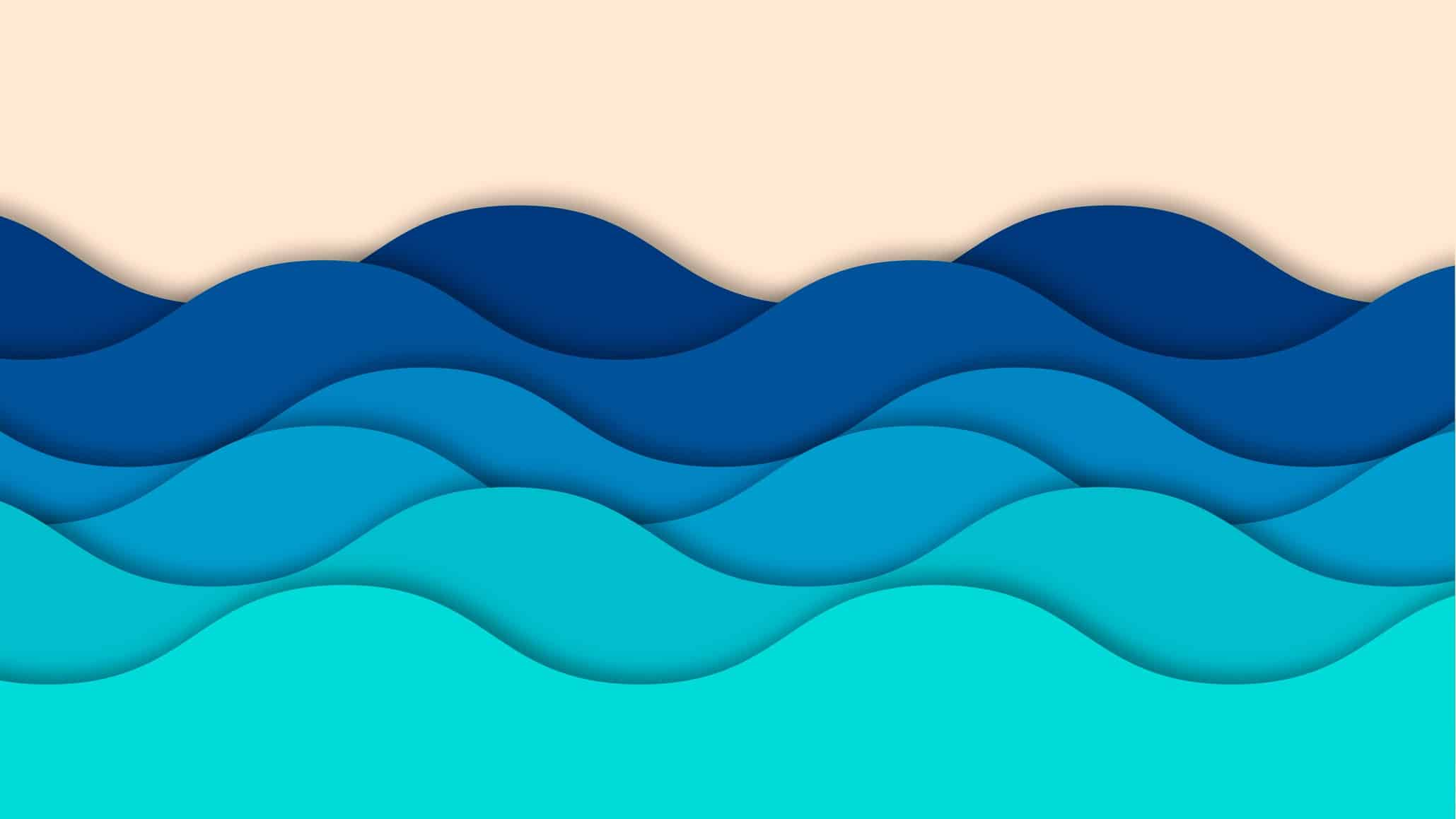 Graphic illustration of series of blue waves