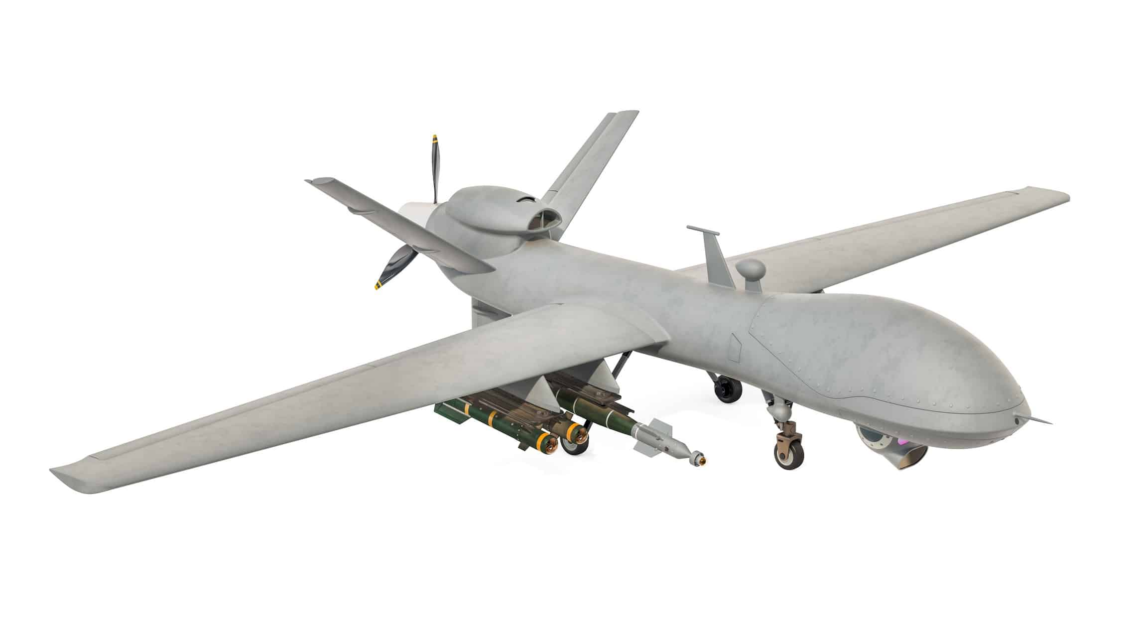 military drone with weapons representing electro optic share price
