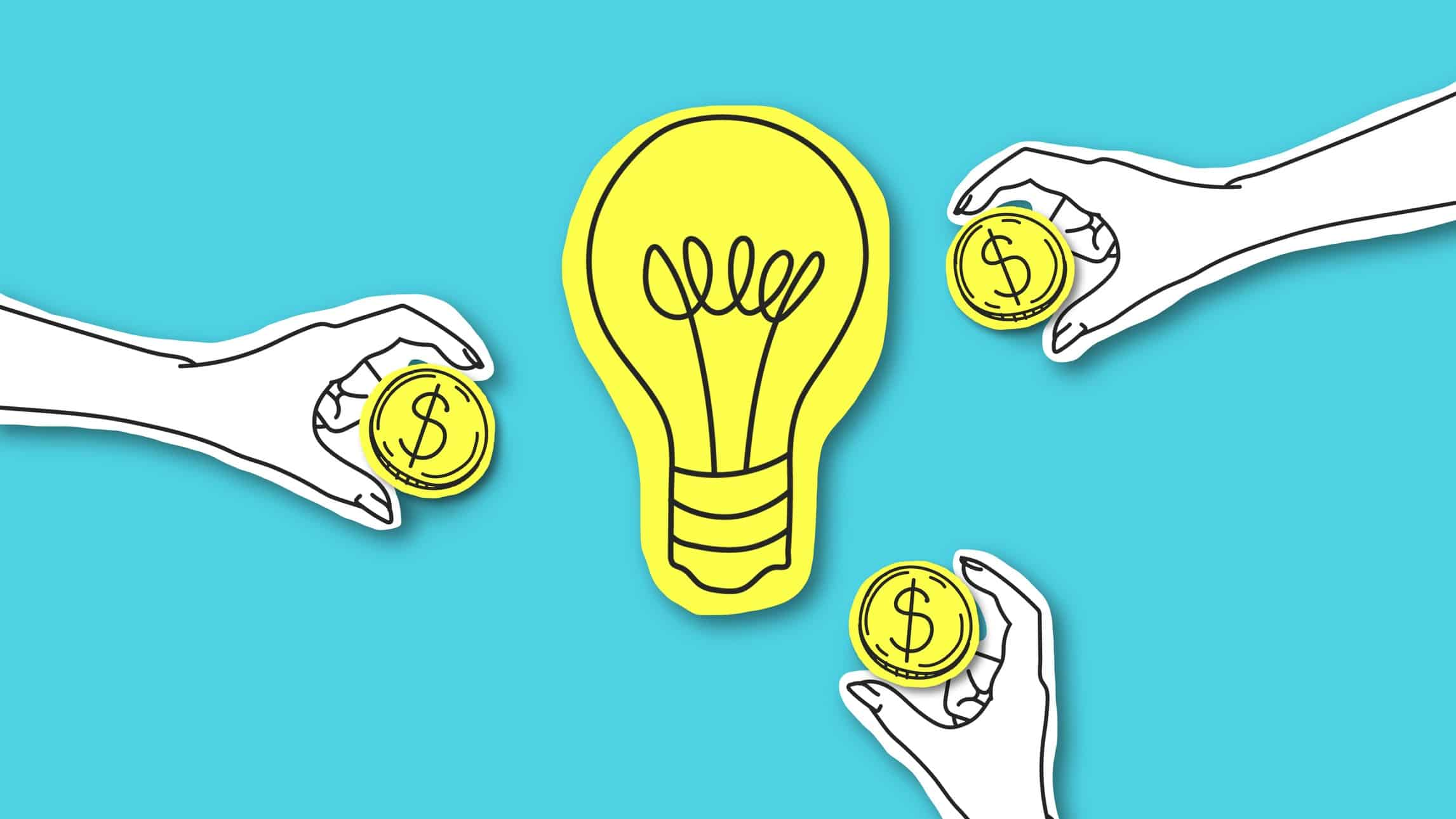 Cutout icon of a lightbulb surrounded by 3 hands holding out gold coins