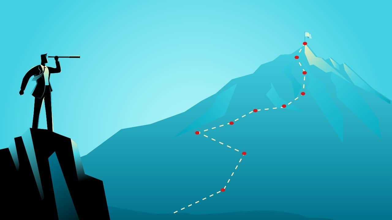 Illustration of man on mountain looking through binoculars at taller mountain in distance