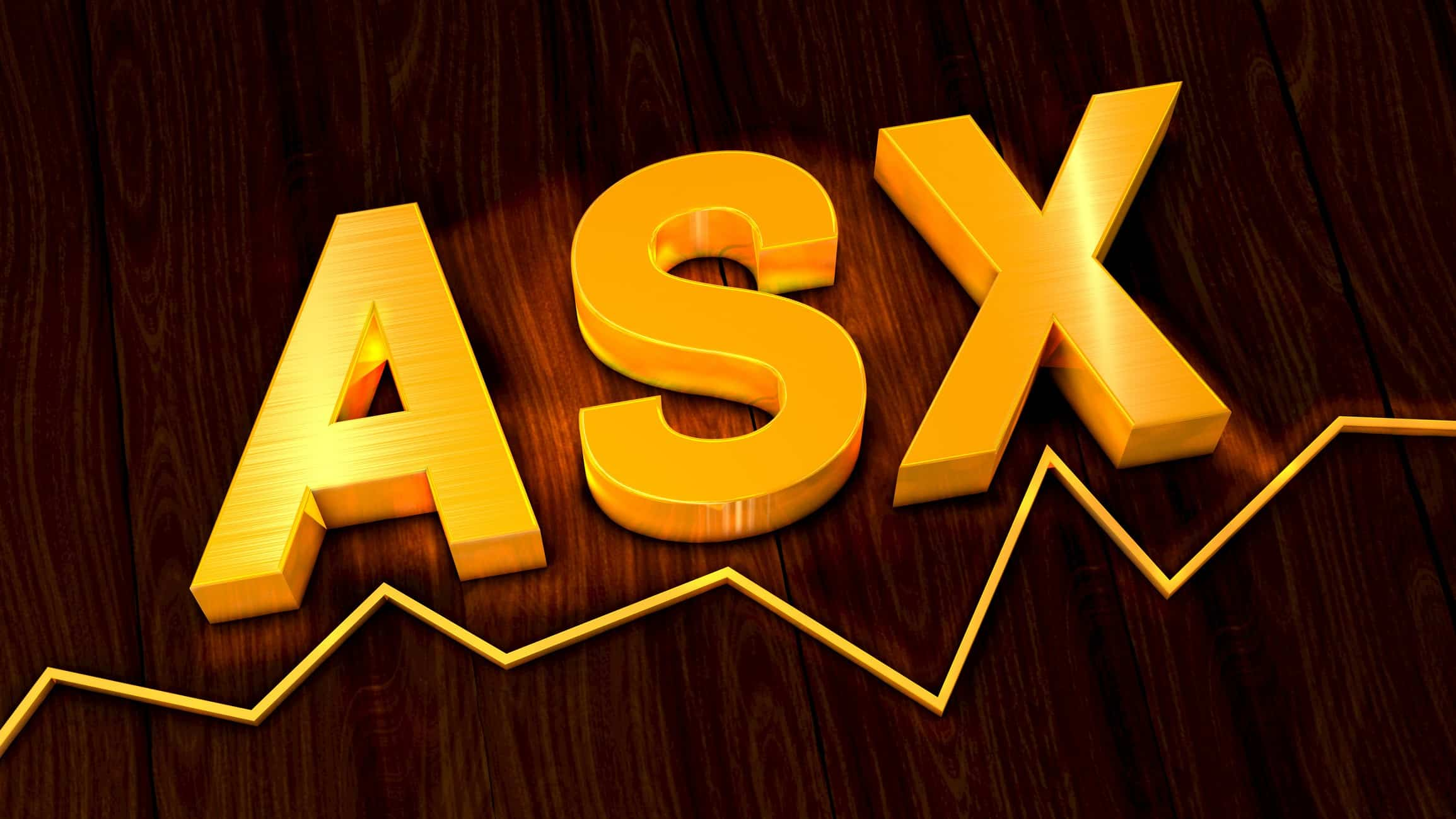 ASX shares represented by gold letters spelling ASX sitting atop a line graph