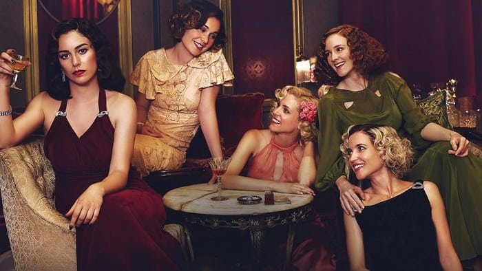 Netflix movie showing five female actors in period costume