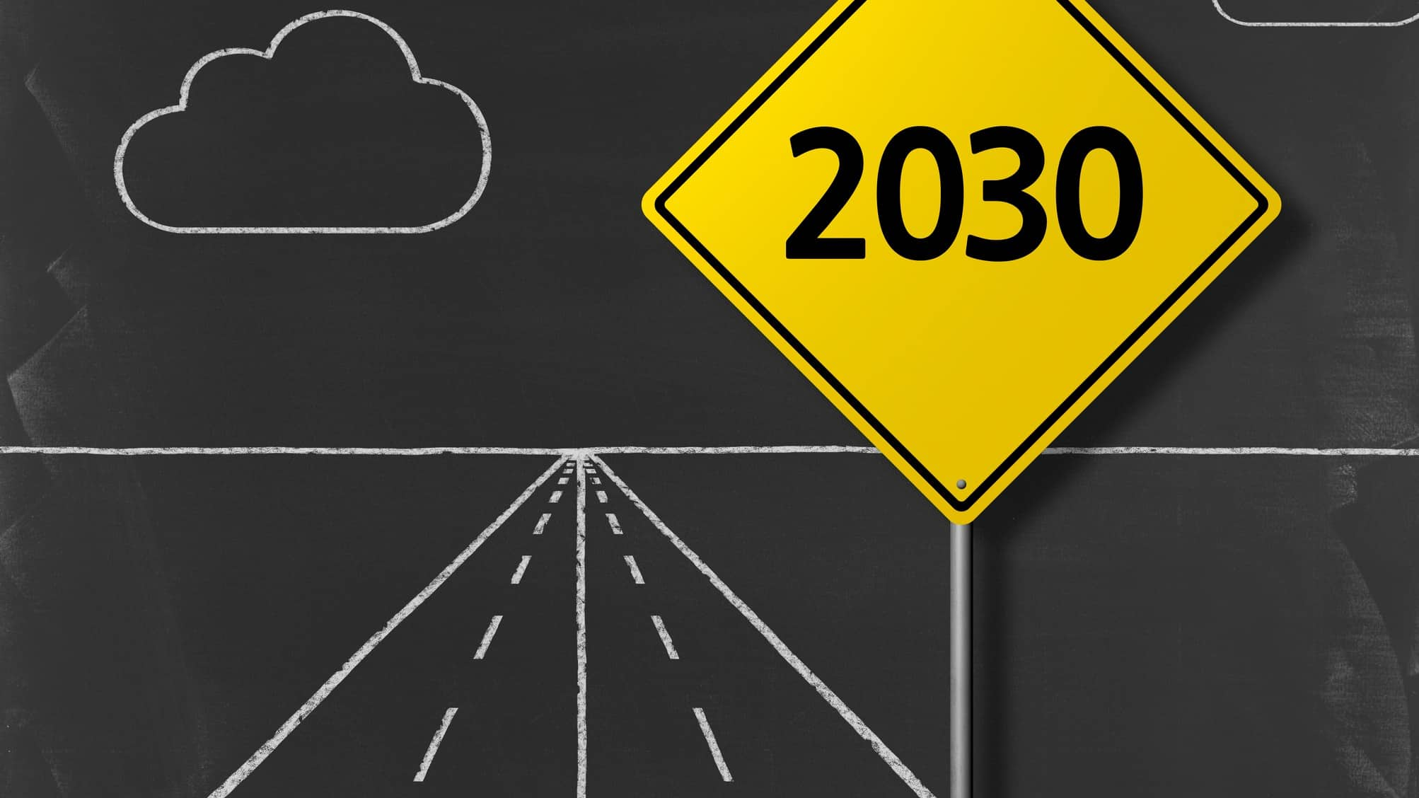 A chalkboard road with a yellow sign saying 2030, representing the way forward for ASX companies