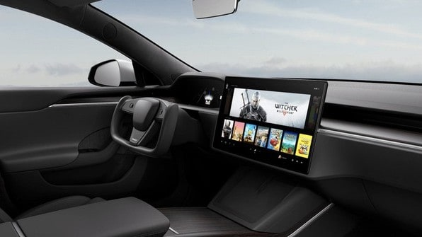 tesla shares represented by interior of Tesla model s electric vehicle