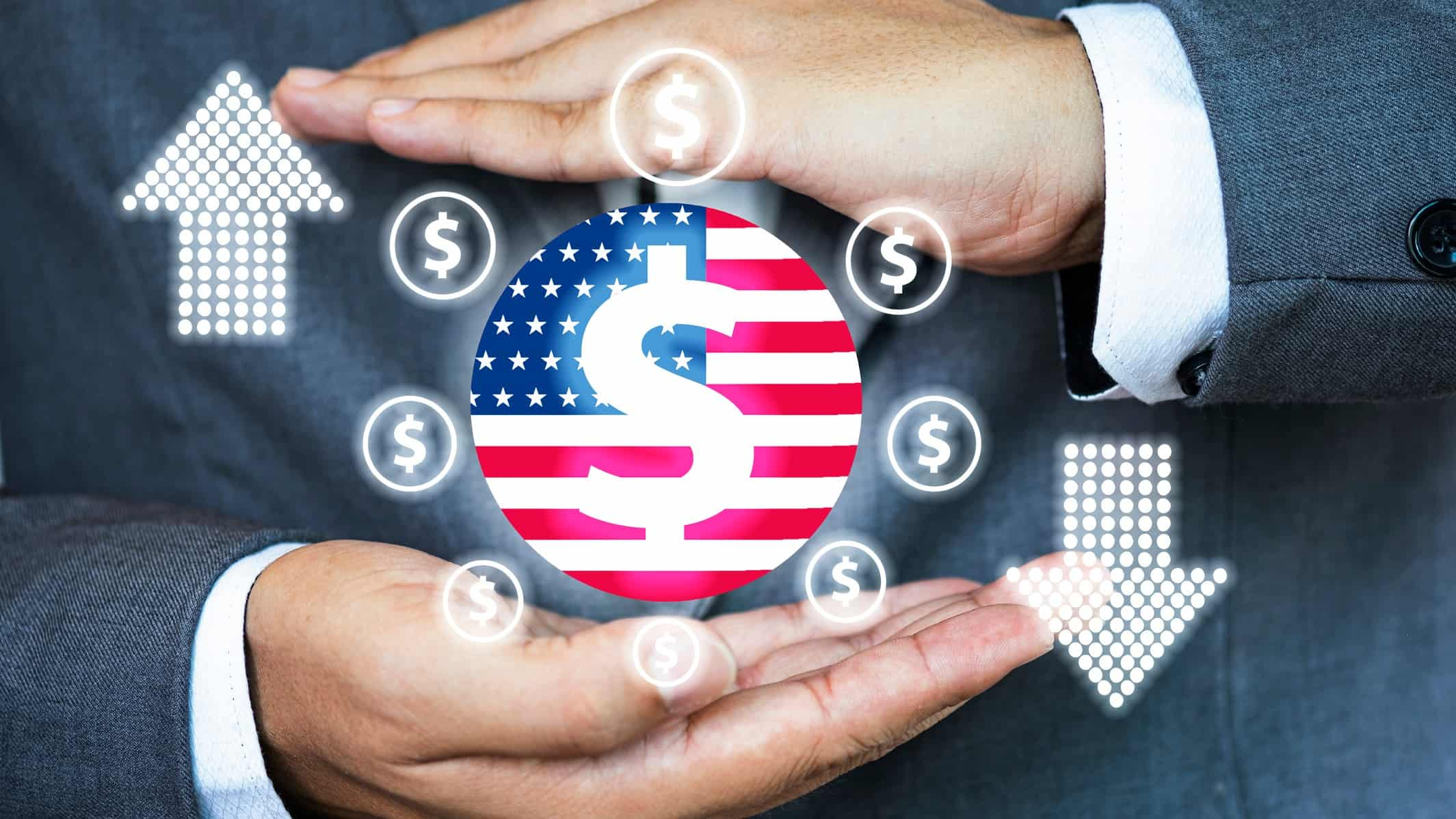 A businesman's hands surround a circular graphic with a United States flag and dollar signs, indicating buying and selling US shares