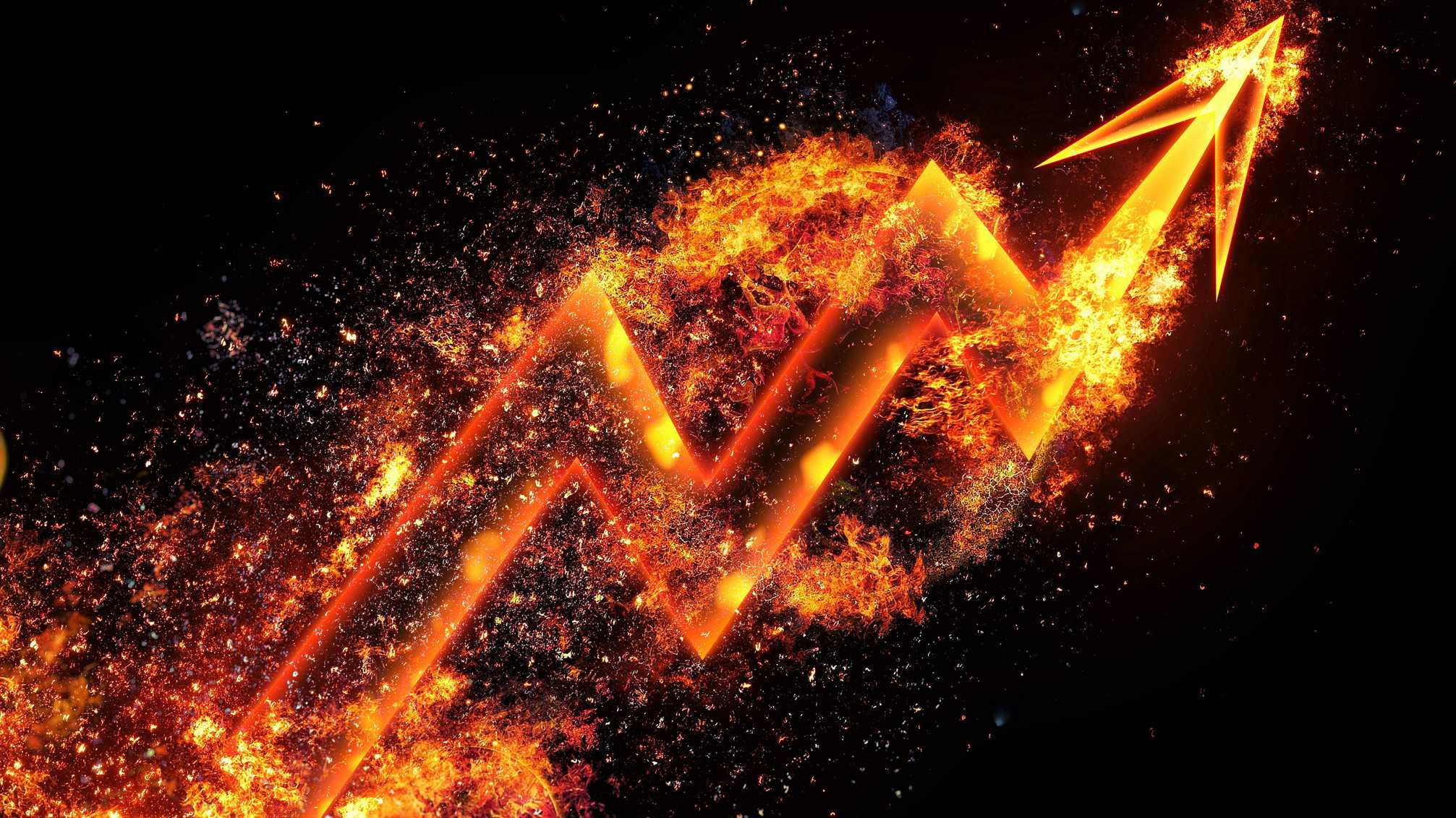 A graph ablaze with fire going up, indicating a fired up and surged share price