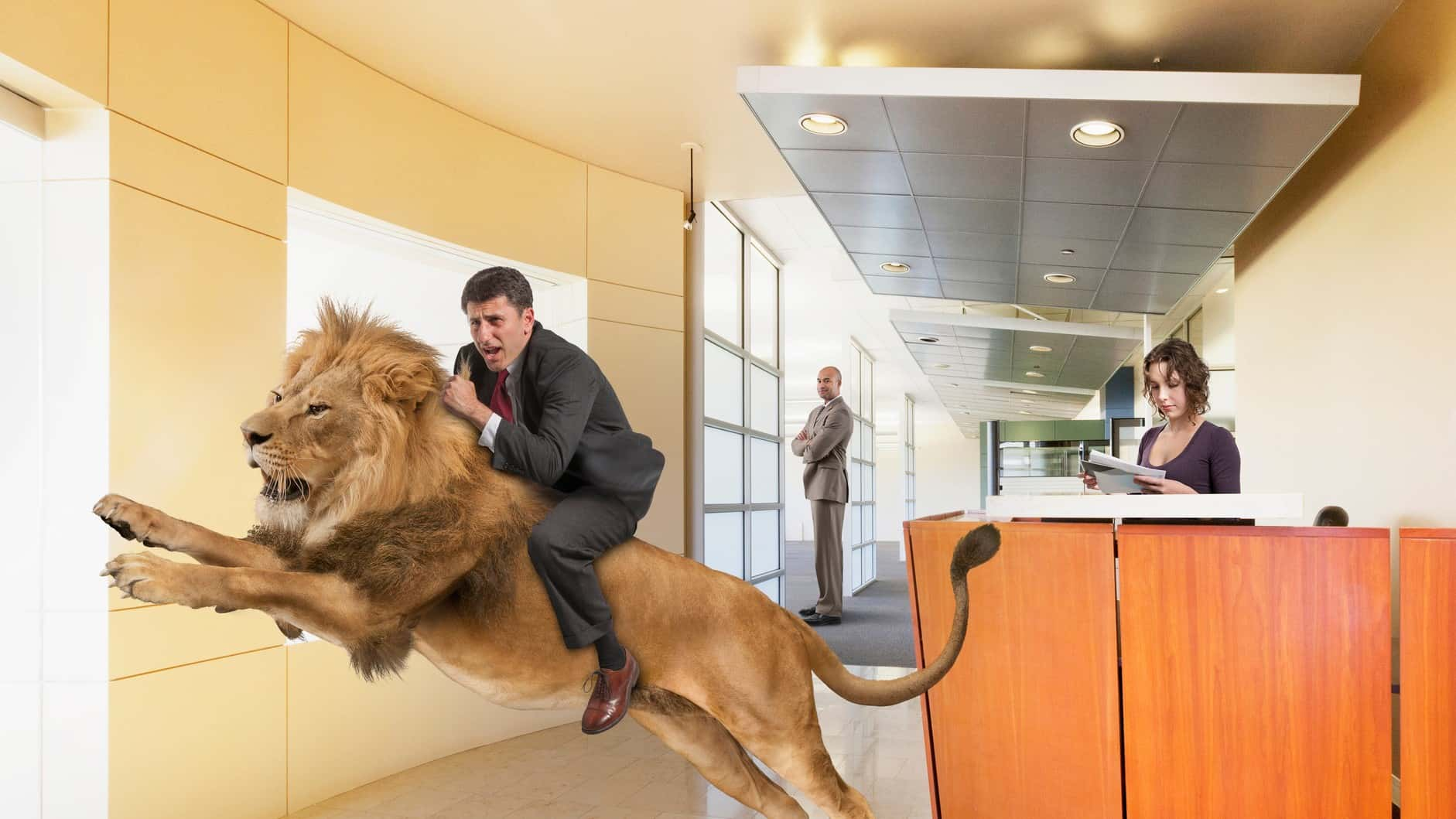 ASX share price rise represented by investor riding atop leaping lion