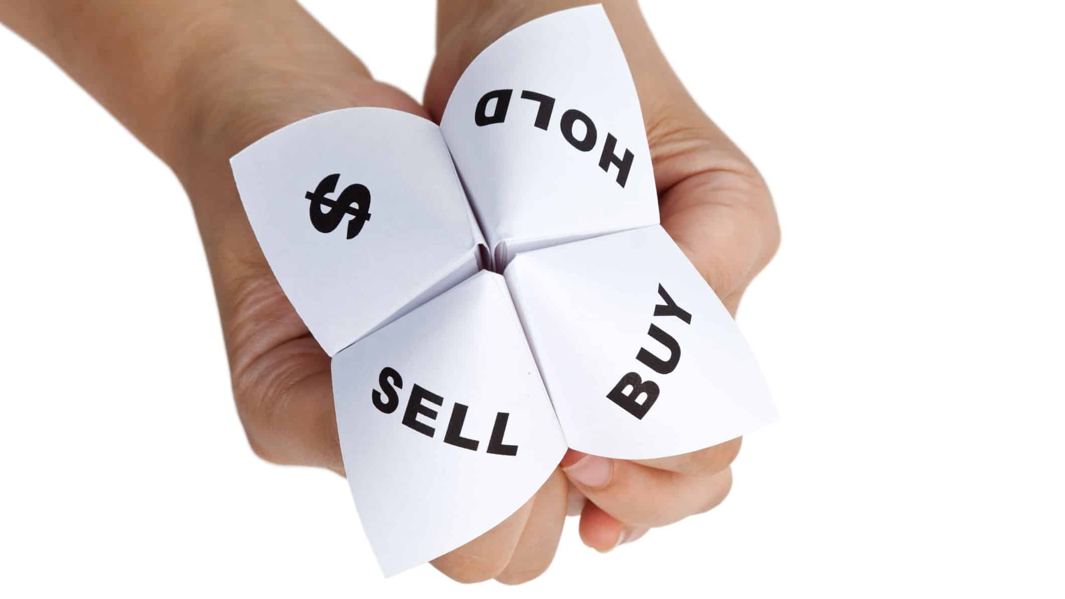 ASX shares broker downgrade origami paper fortune teller with buy hold sell and dollar sign options