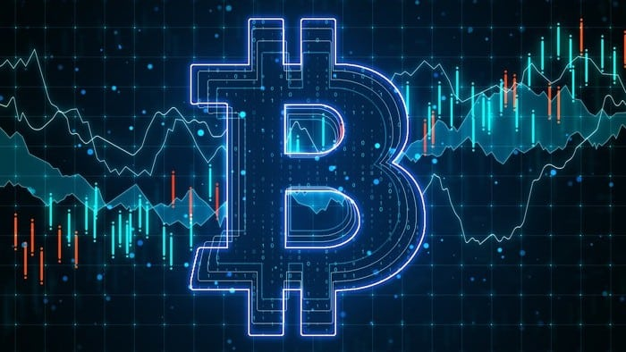 violet bitcoin logo with share price lines in the background
