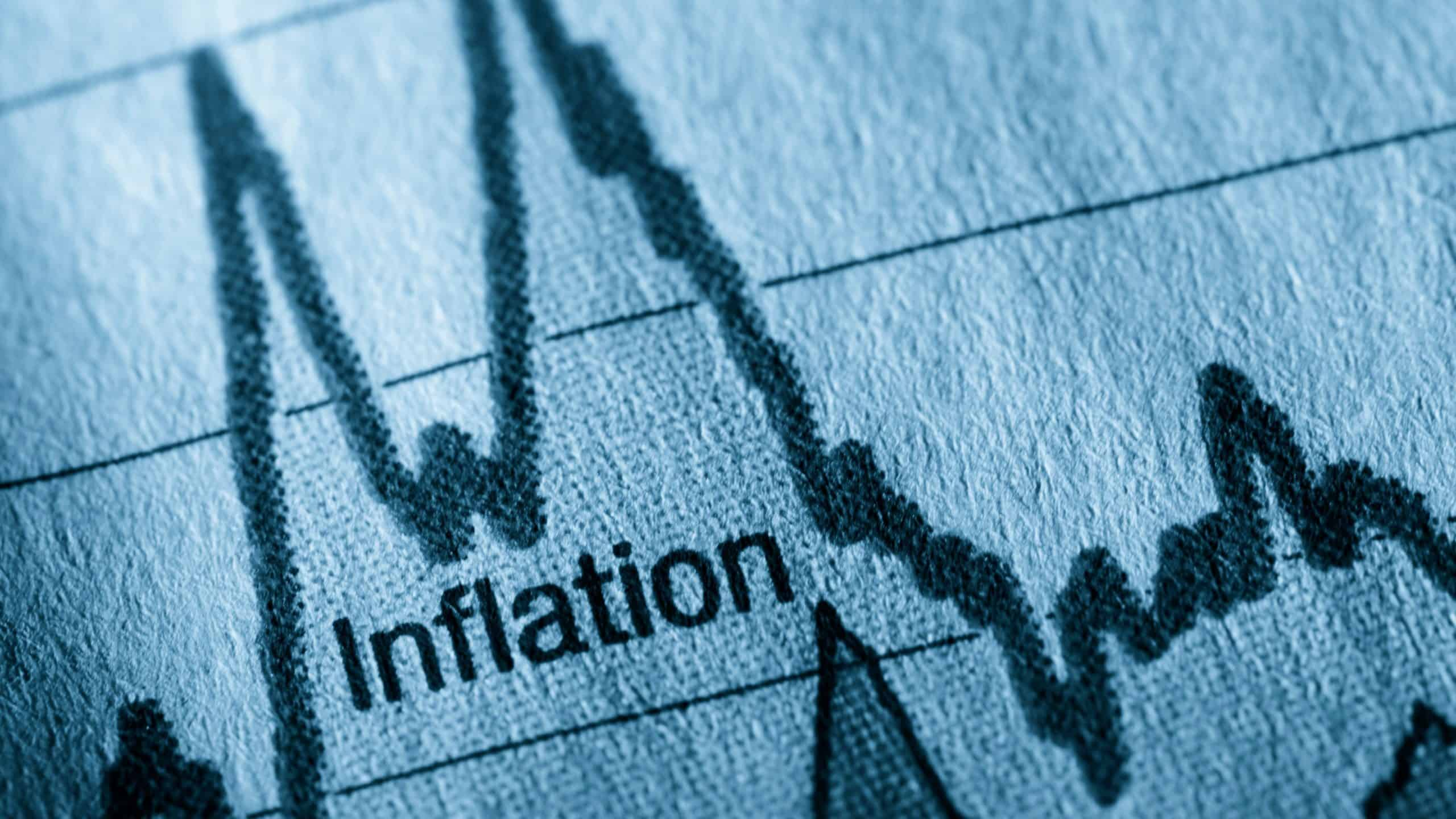 graph depicting inflation with the word written in the middle