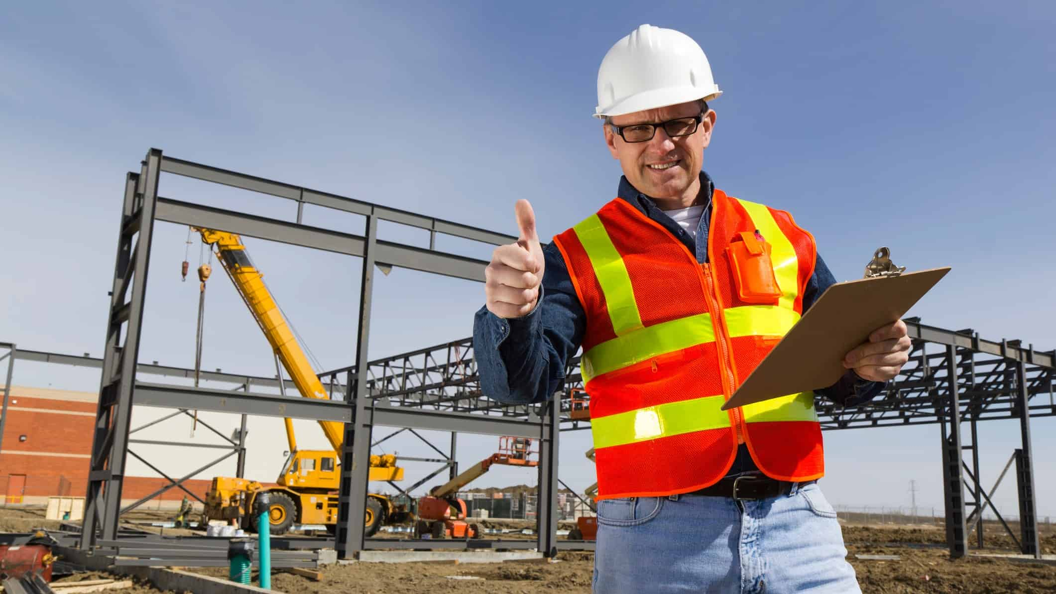 thumbs up from a construction worker in a construction site