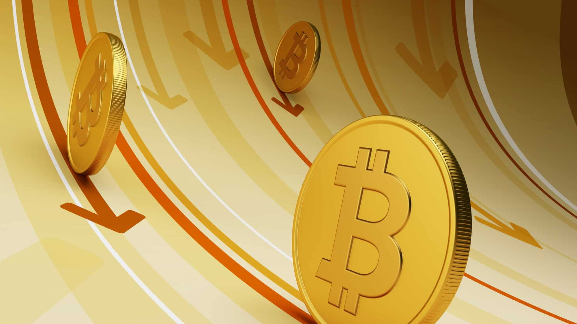 tumbling bitcoin price represented by declining arrows