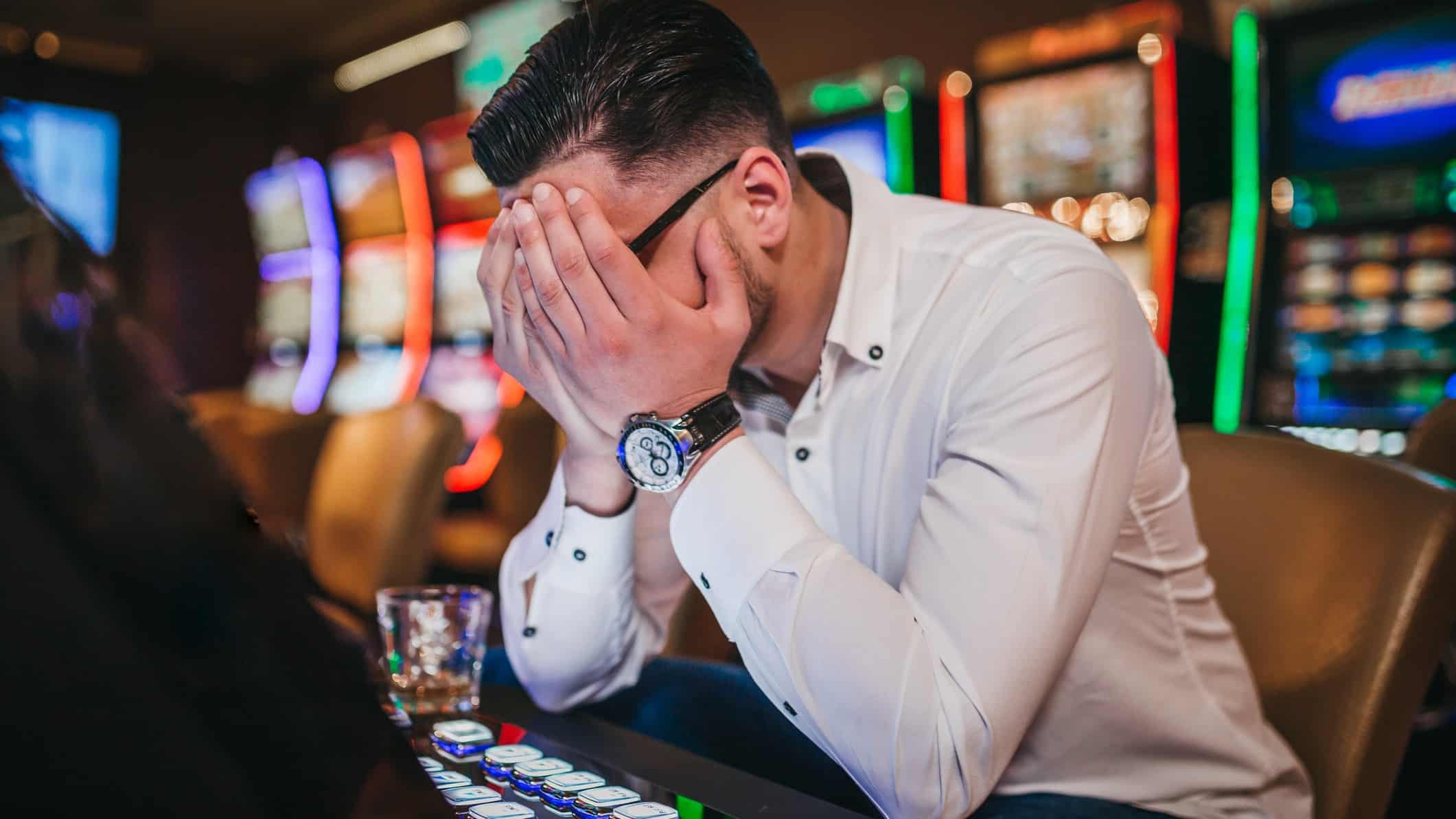 Distressed man at a casino