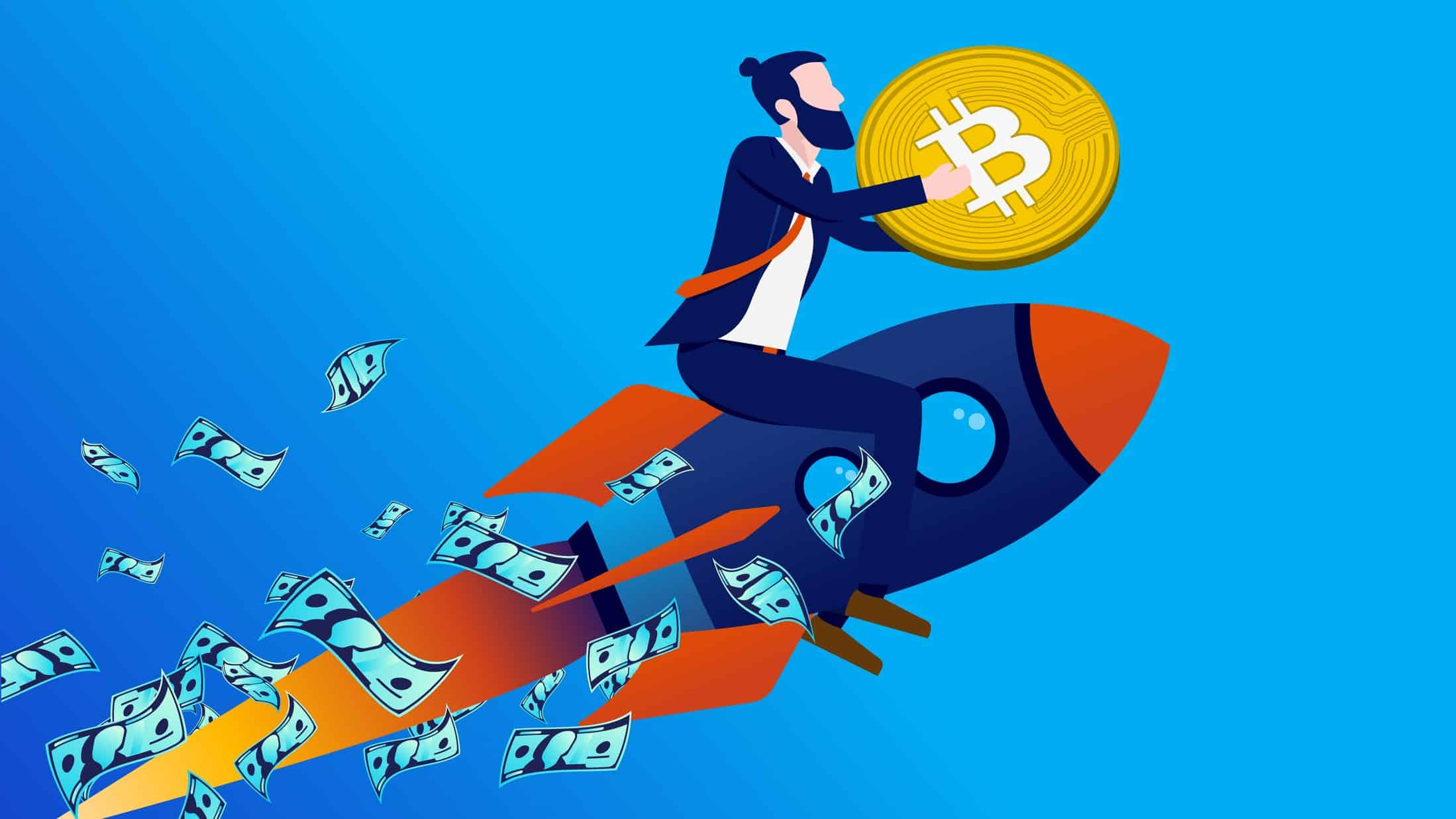 Graphic of man on rocket holding bitcoin rising