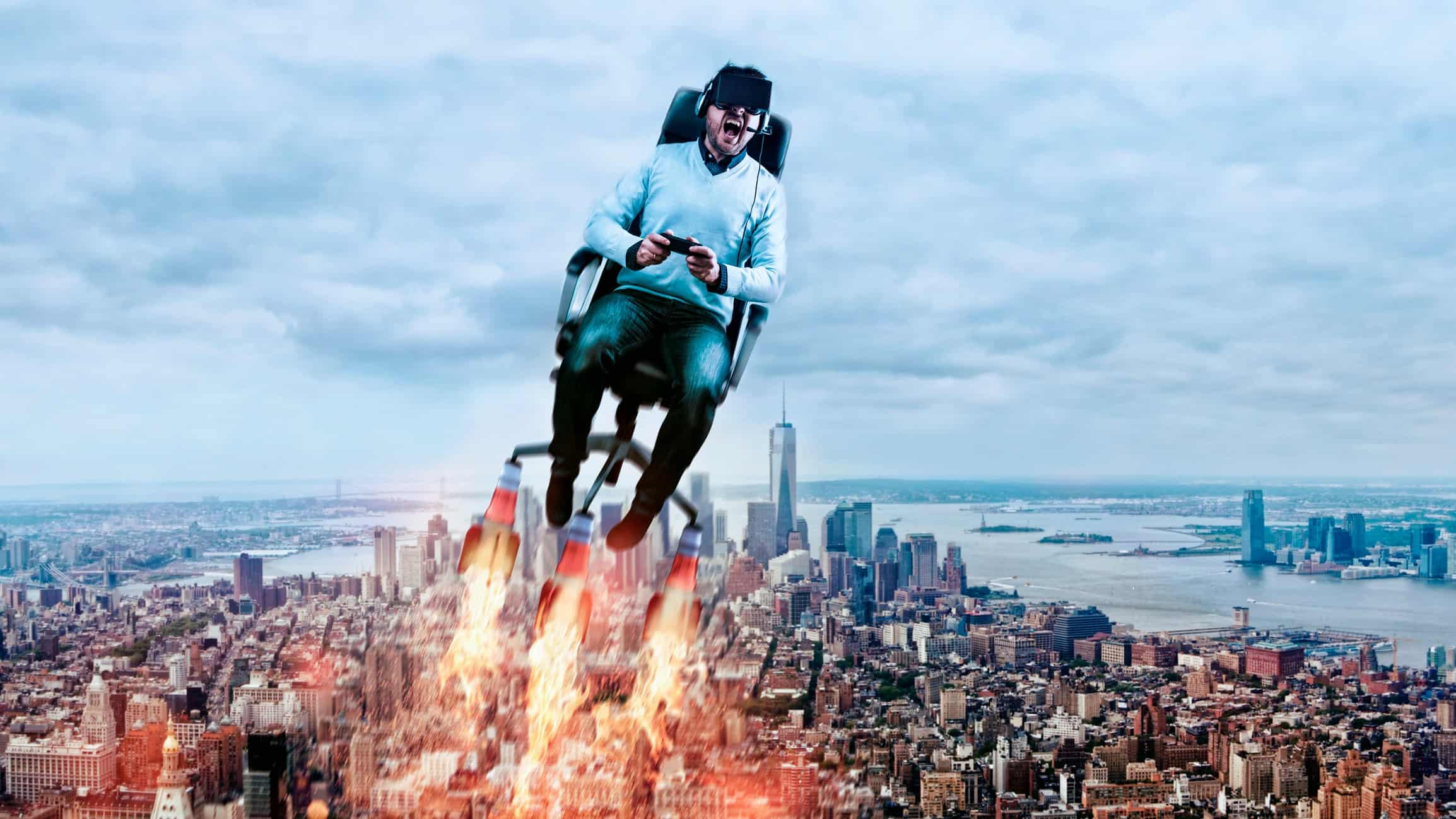 a man sits on a rocket propelled office chair and flies high above a city
