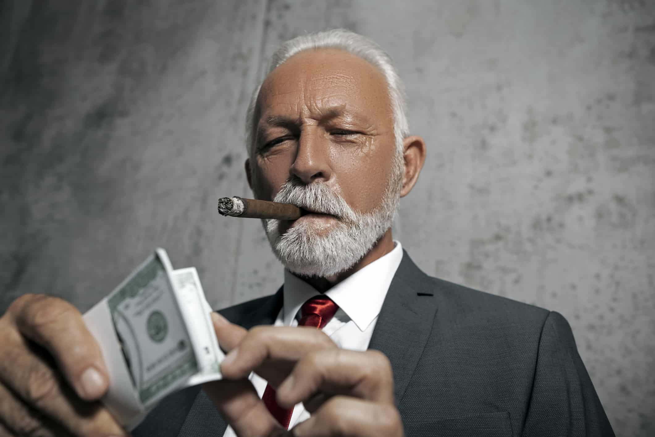 business man with cigar, counting cash, CEO, business executive