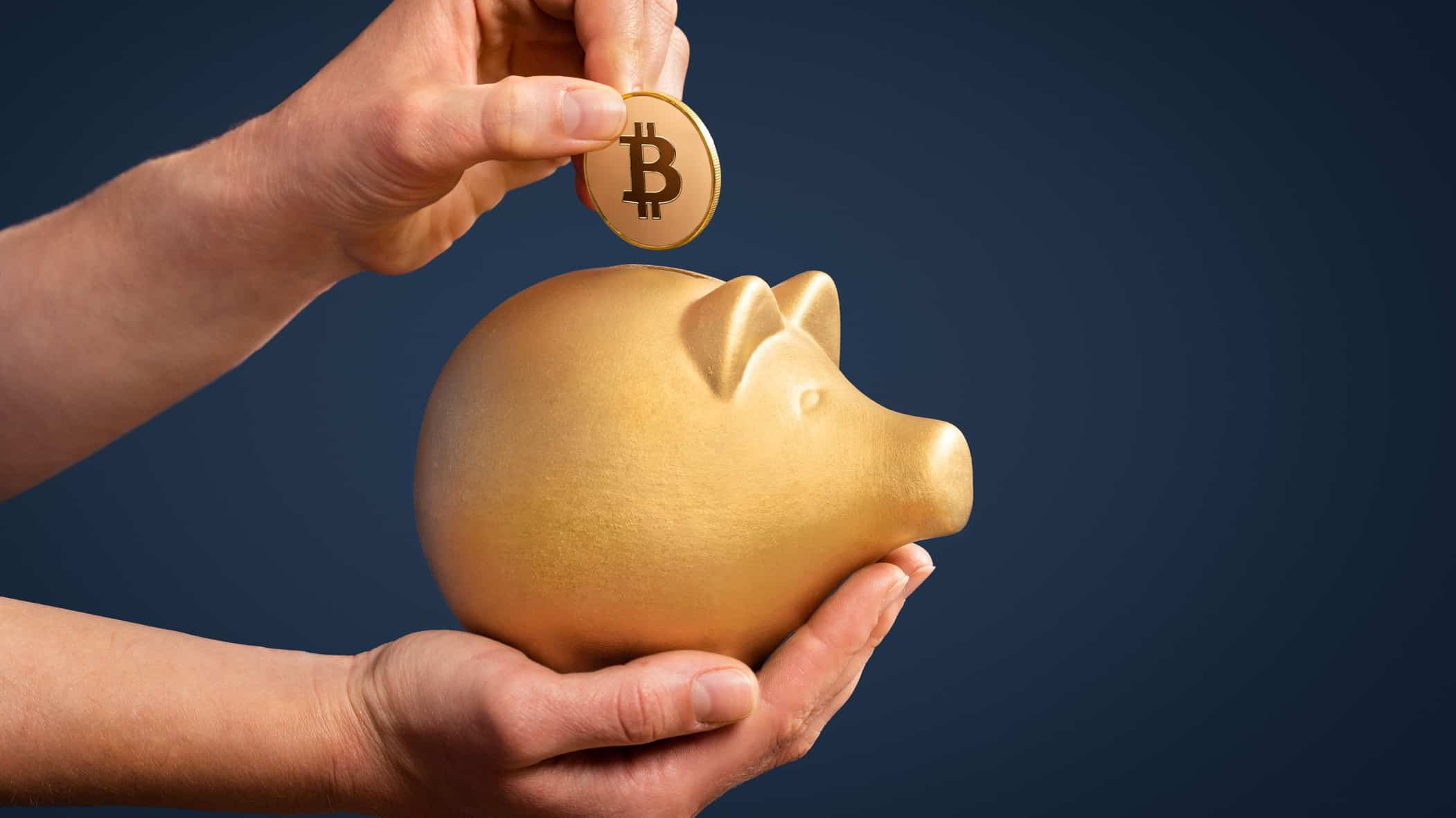 Cryptocurrency bitcoin coin in gold piggy bank
