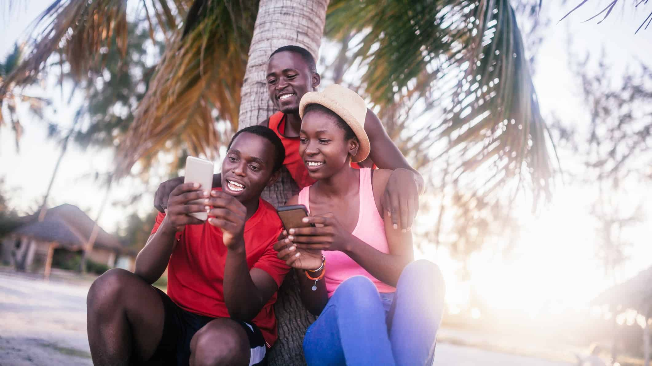 a group of islander residents look at their mobile phones under a palm tree.