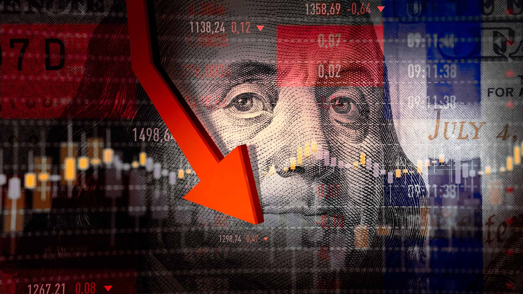 Concept image of US dollar in front of a graphic showing shares and an downward arrow.