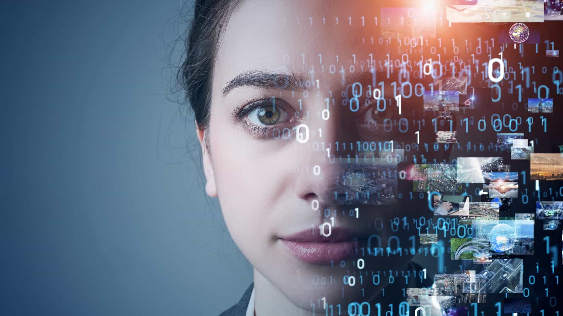 a woman stares ahead with a serious expression on her face while half of her face is covered by computer coding, indicative of artificial intelligence and machine learning technology.